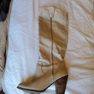 Cream leather to the knee boots